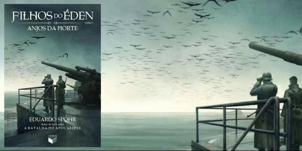 Capa do livro Anjos da Morte, em que um soldado está em um porto com diversos anjos voando ao fundo.