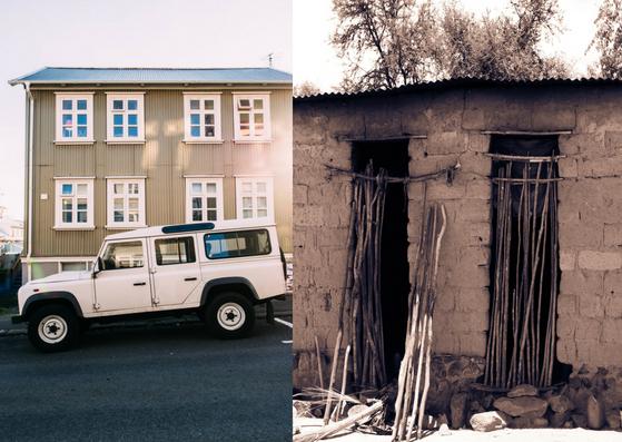 """Imagem com uma casa de """"rico"""" e outra de """"pobre"""""""