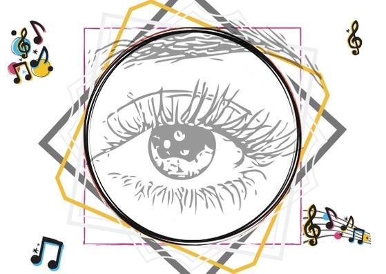 Uma série de figuras geométricas assumindo várias formas com um olho no centro