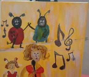 Ladybug Folk Art by Eunice LaFate