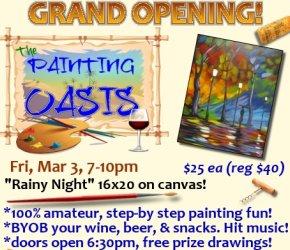 Grand Opening 'Rainy Night' Public San Antonio TX BYOB Paint