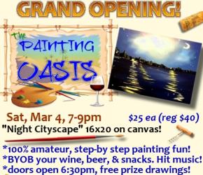 Grand Opening 'Night Cityscape' Public San Antonio TX BYOB Paint