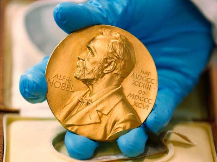 A bust of the Nobel Peace Prize which is awarded yearly to notable humanitarians