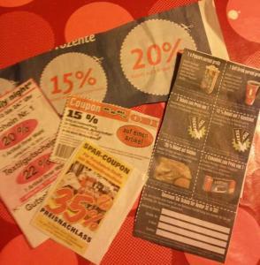 coupons aus Wochenzeitungen