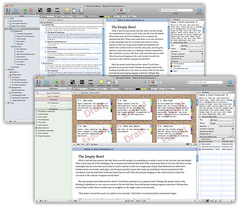 Examples of the Scrivener interface