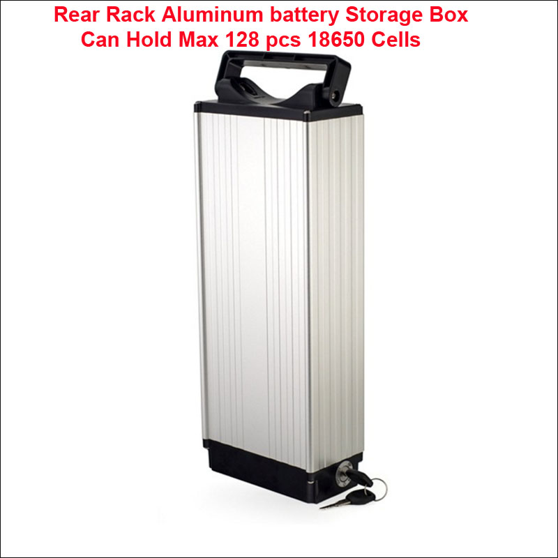 rear rack aluminum battery storage box can hold max 128 pcs 18650 cells for 36v 48v large capacity battery assembly purpose