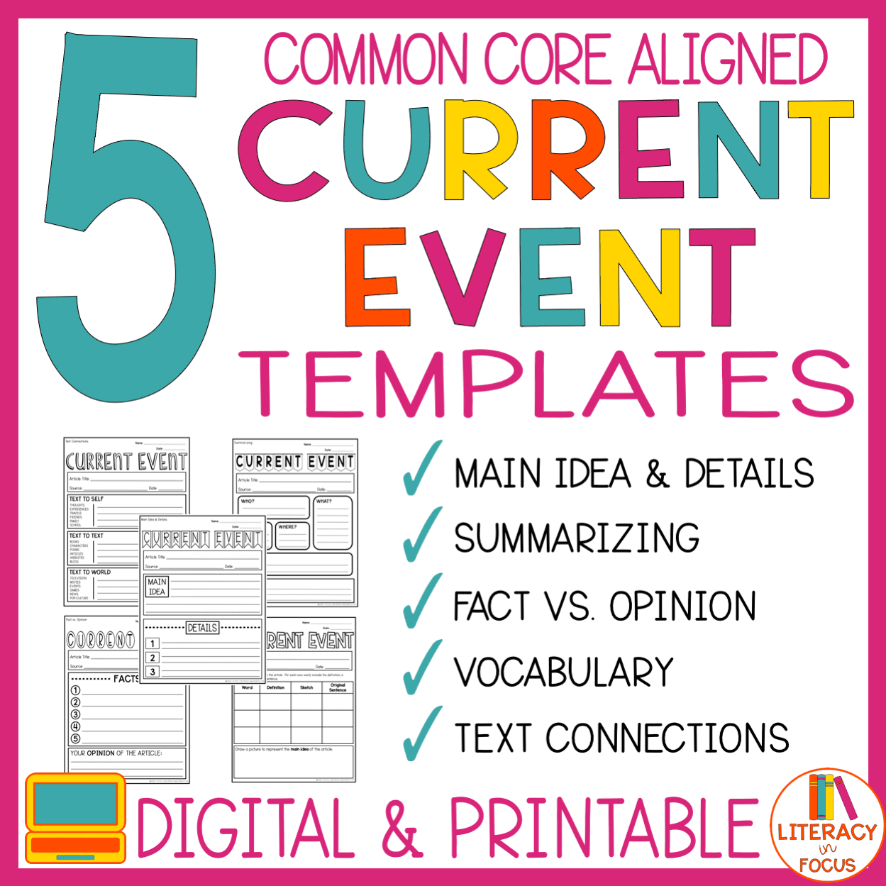 5 Different Common Core Current Event Templates