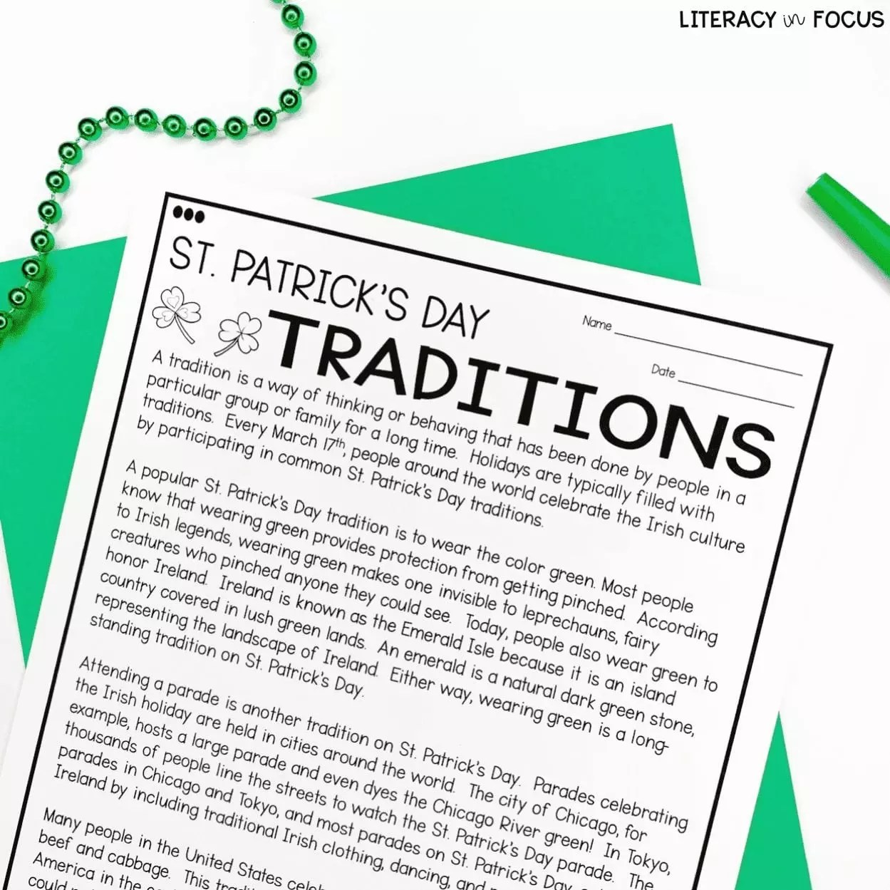 St Patrick S Day Reading Comprehension Activities