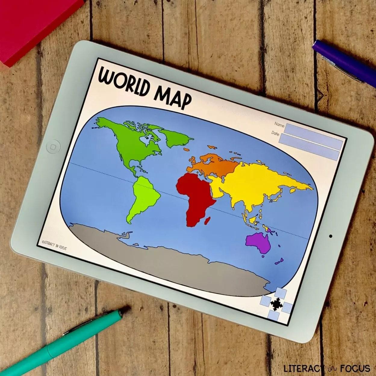 Printable World Map Worksheet And Quiz