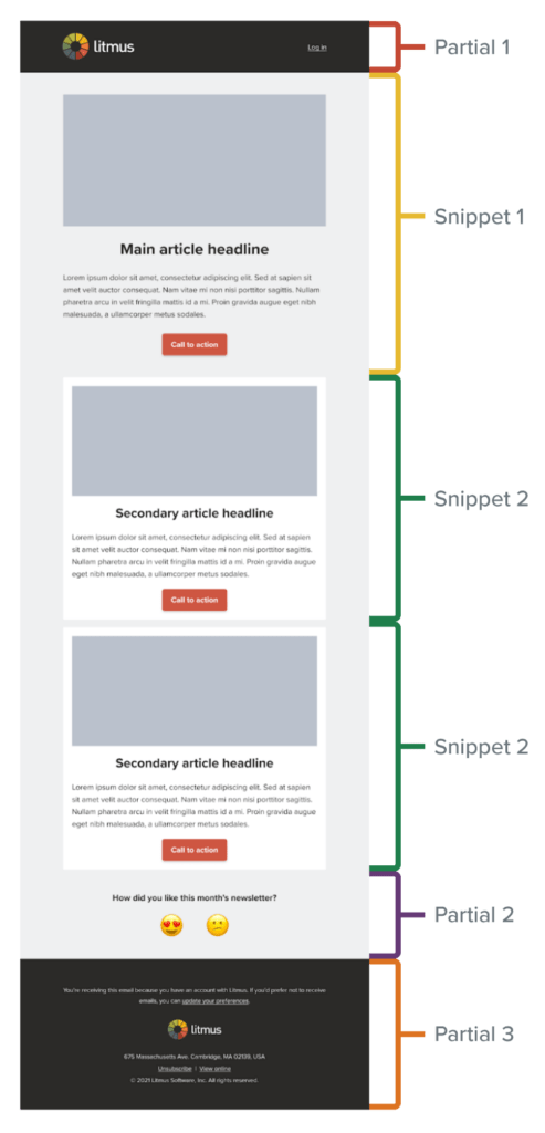 litmus newsletter snippets and partials