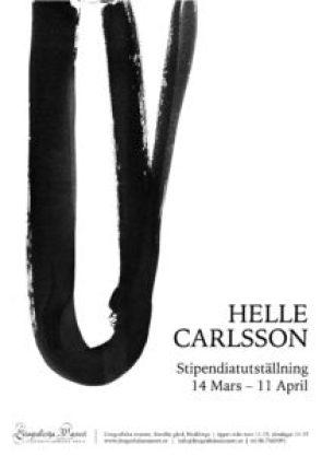 Affisch för Helle Carlssons stipendiatutställning, öppnar 14 mars 2021.