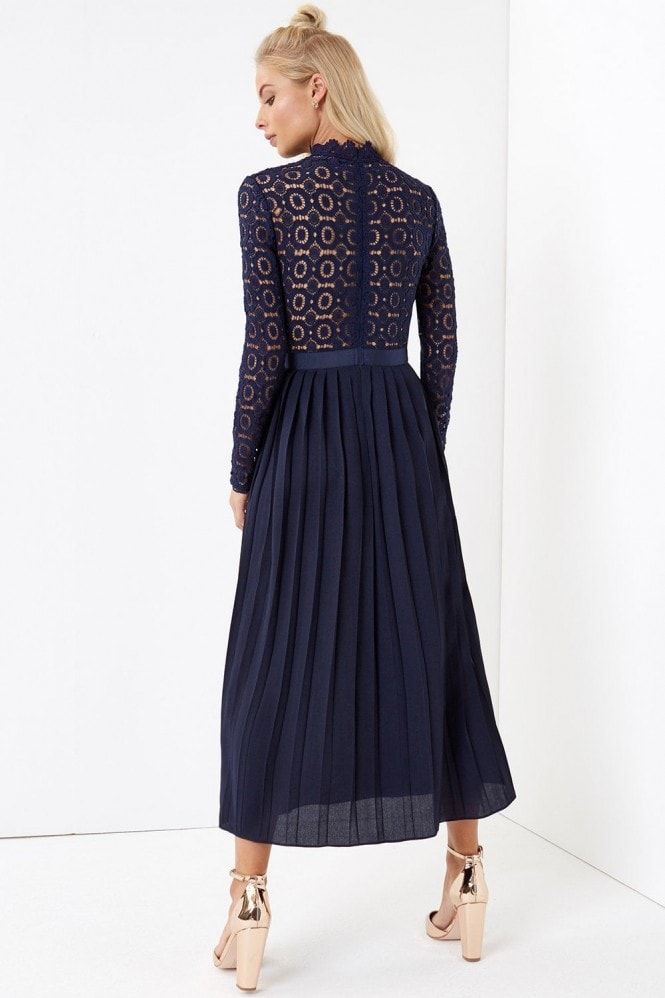Little Mistress Alice Navy Crochet Top Midaxi Dress With Pleated Skirt