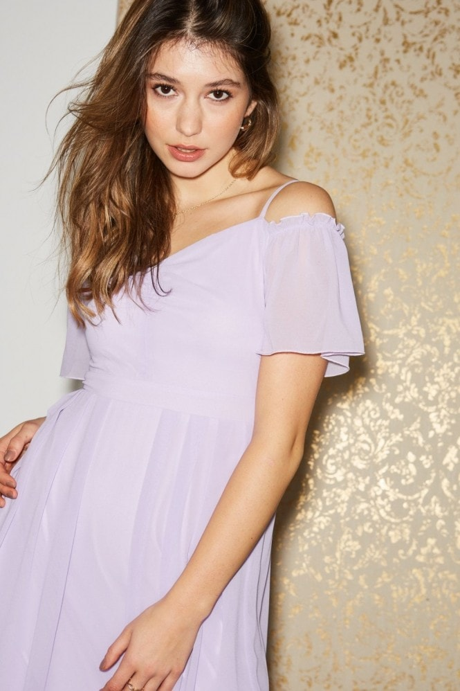 Little Mistress Vita Lilac Cold-Shoulder Maxi Dress