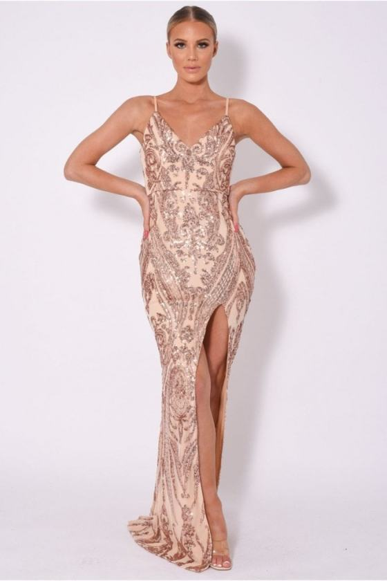 NAZZ COLLECTION OUTSHINE VIP EMBELLISHED ILLUSION SEQUIN SLIT MAXI DRESS 25