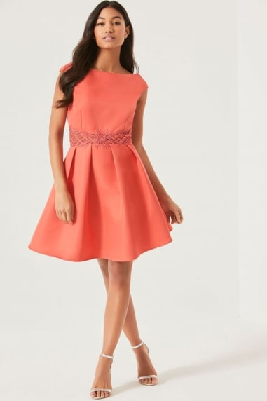 Coral Pink Fit and Flare Dress