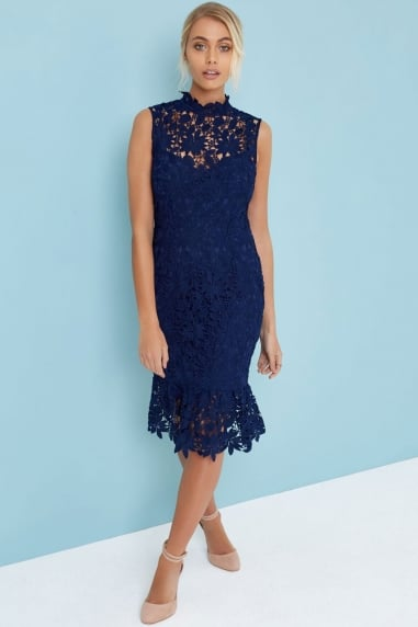 Navy High Neck Crochet Dress
