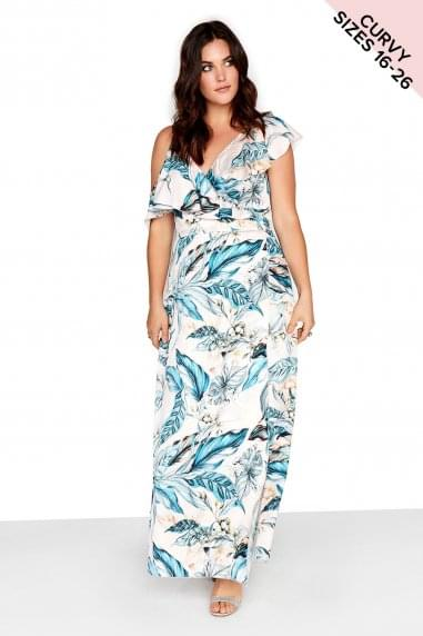 Frill Wrap Maxi Dress
