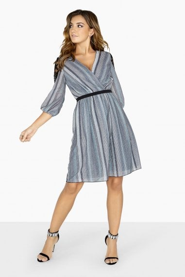 Kylie Metal Stripe Skater Dress