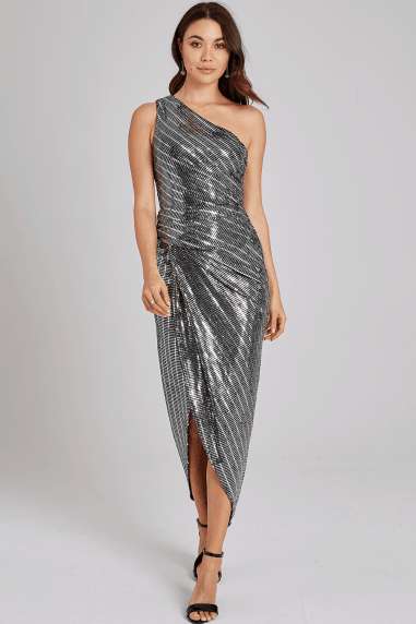 Ellis Silver One-Shoulder Dress