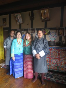 Angela & Cynthia in a traditional Bhutanese attire at a farmhouse in Paro