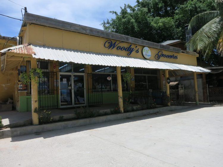 Woody's groceries in West End Roatan Honduras. Get tips about travel to Roatan on the blog.