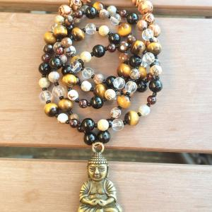 Full Mala with Buddha and Crystals