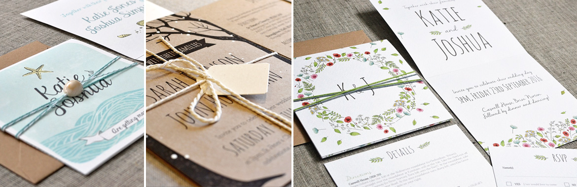 Selection of wedding invitations