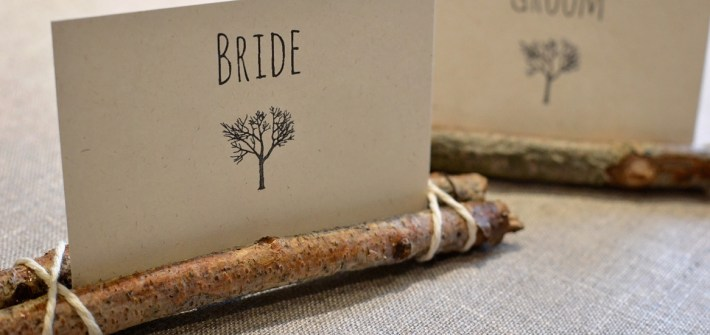 Rustic wedding twig place settings
