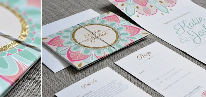 Indian patterns wedding invitation