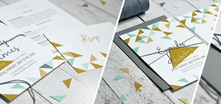 Geometric style wedding invitation