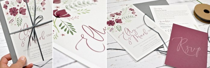 marsala wedding invitations and stationery