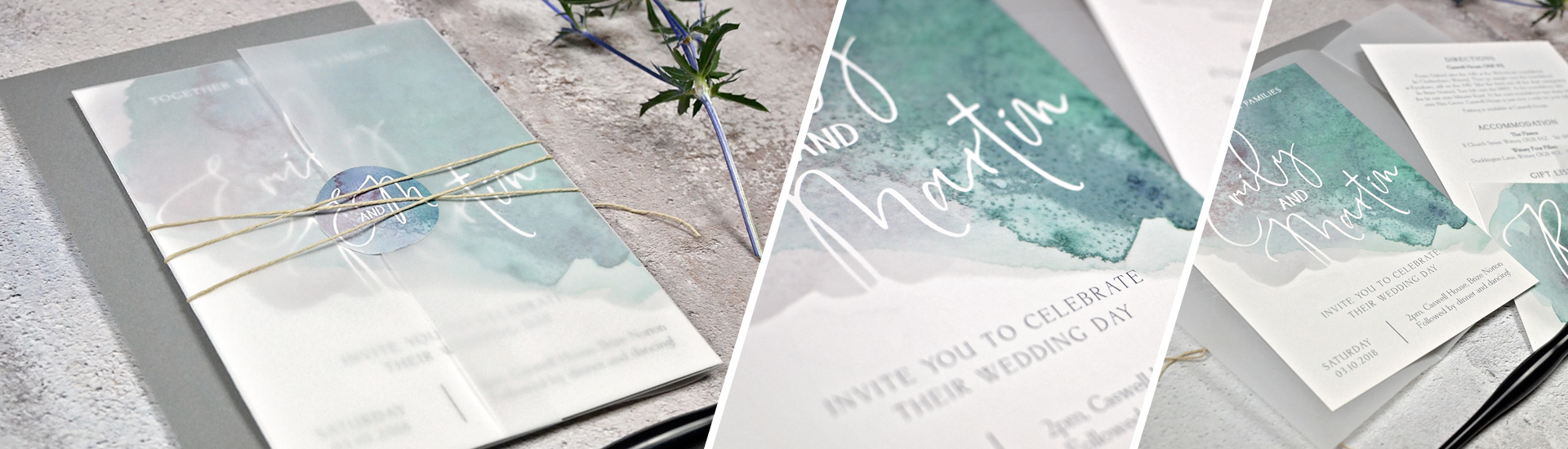 watercolour wedding invitation and wedding stationery