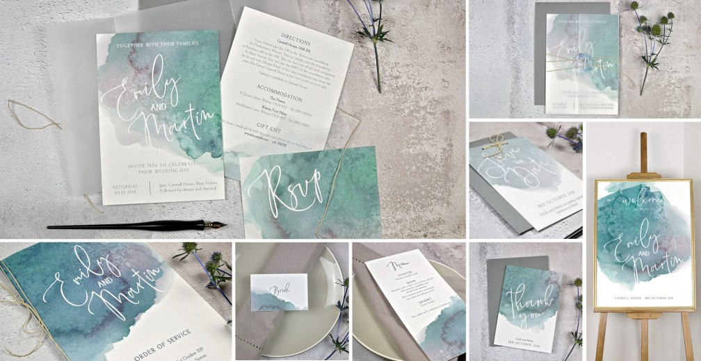 watercolour wedding invitation and stationery