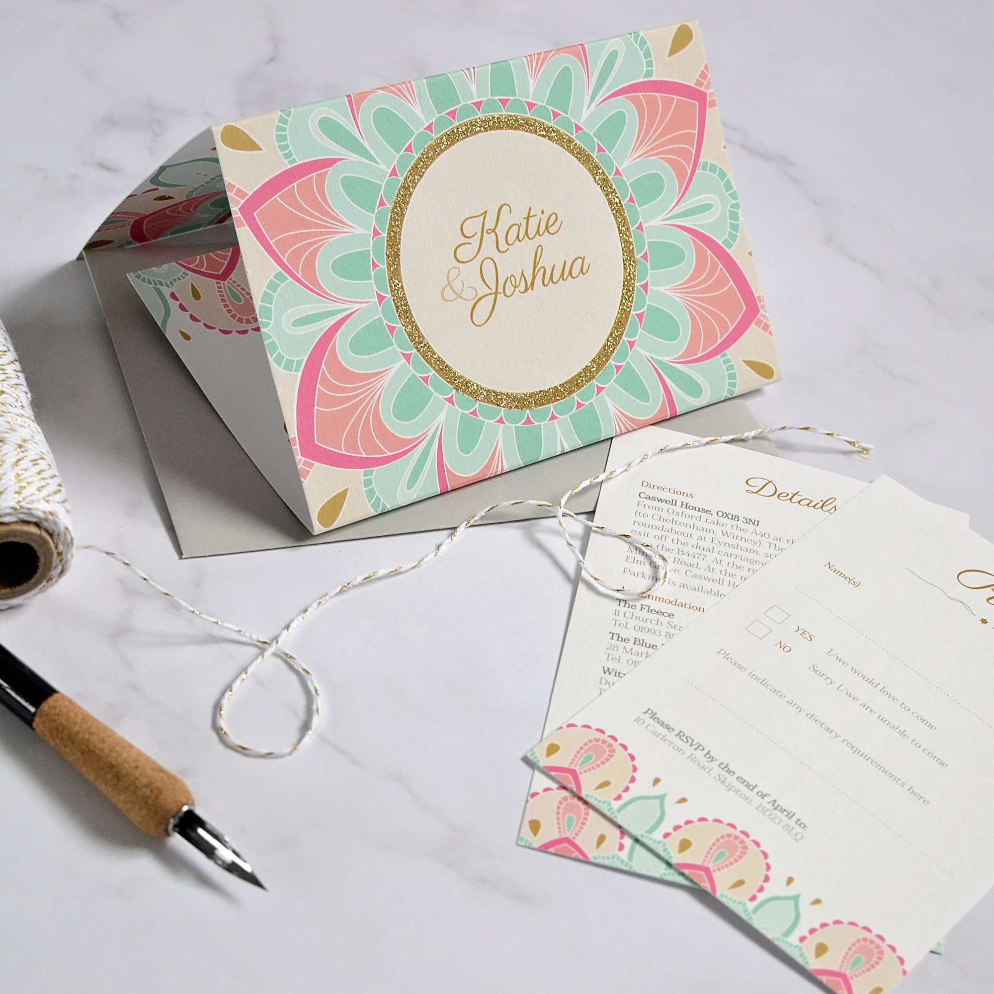 folded Indian wedding invitation