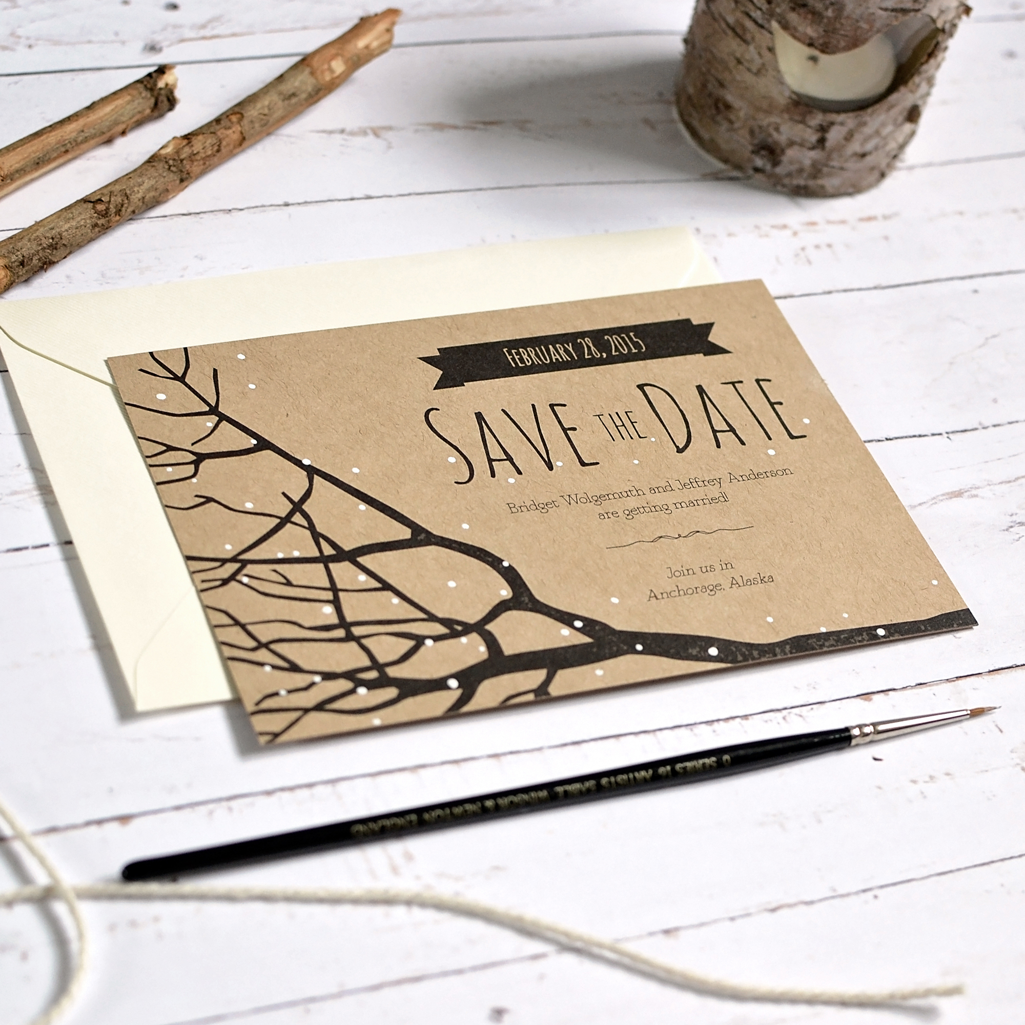 rustic winter wedding stationery