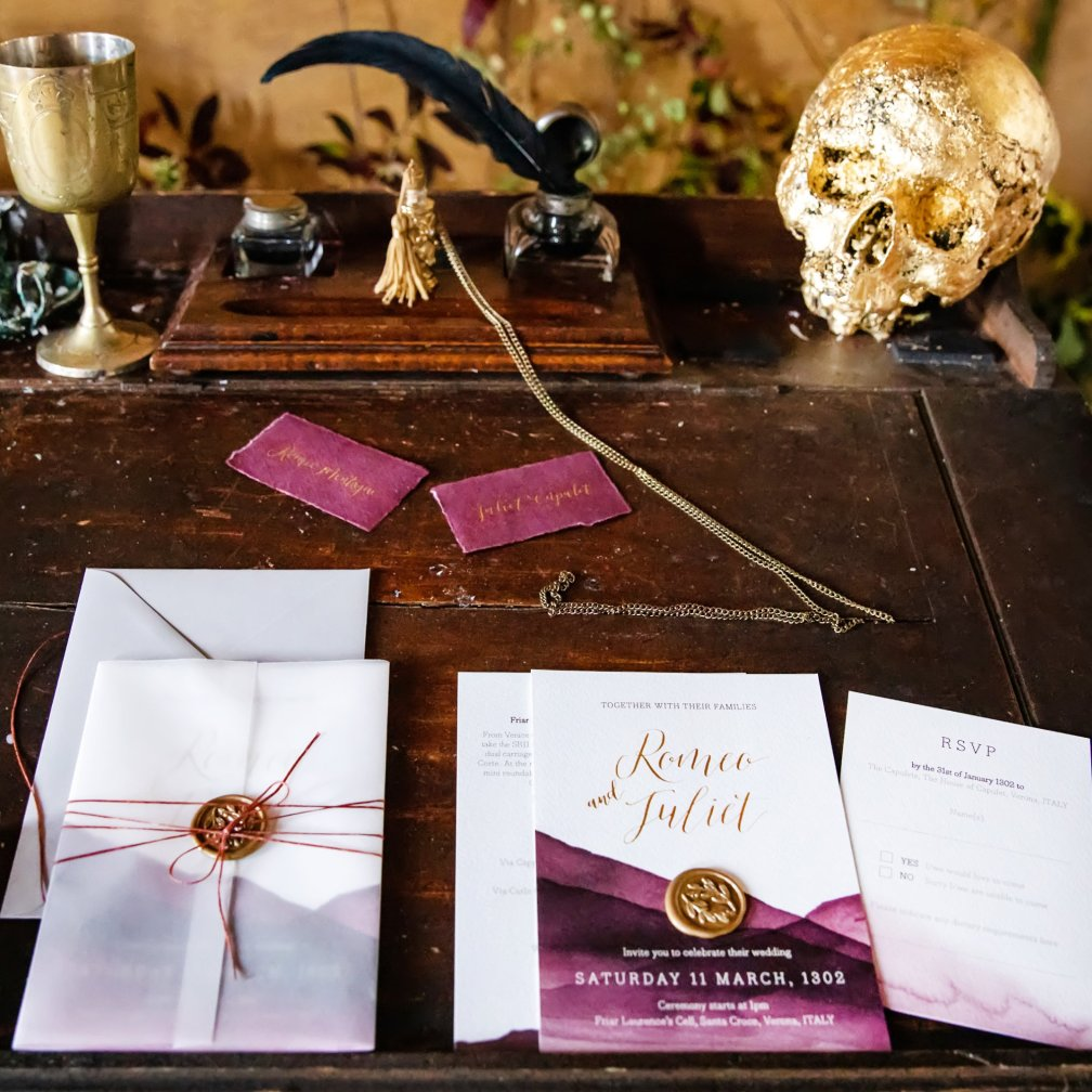 theatrical wedding invitation