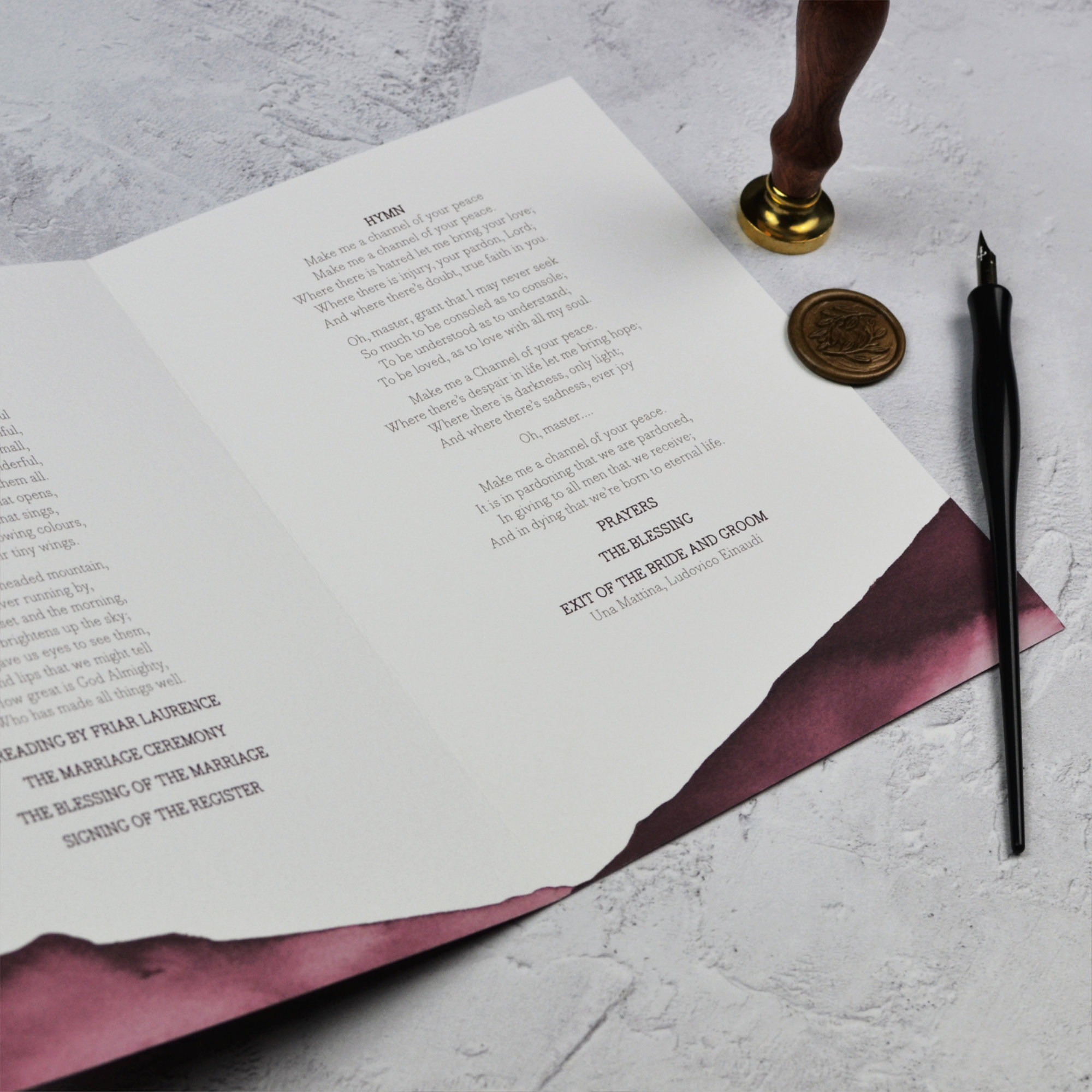 theatrical wedding order of service