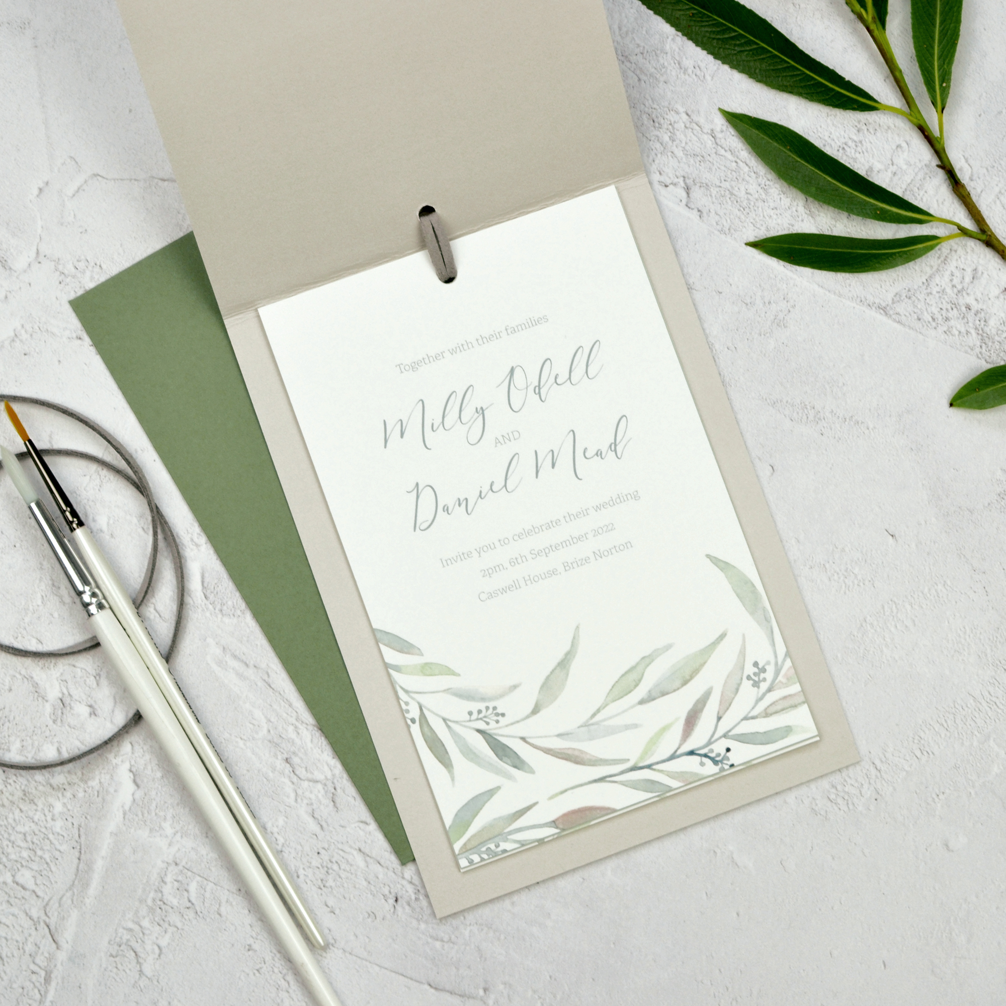 eucalyptus watercolour wedding invitation