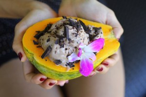 Papaya Boat Stuffed with Chocolate Banana Ice Cream