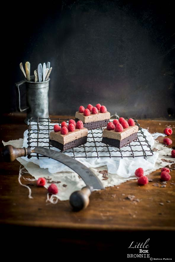 Chocolate and Raspberry Mousse Brownie