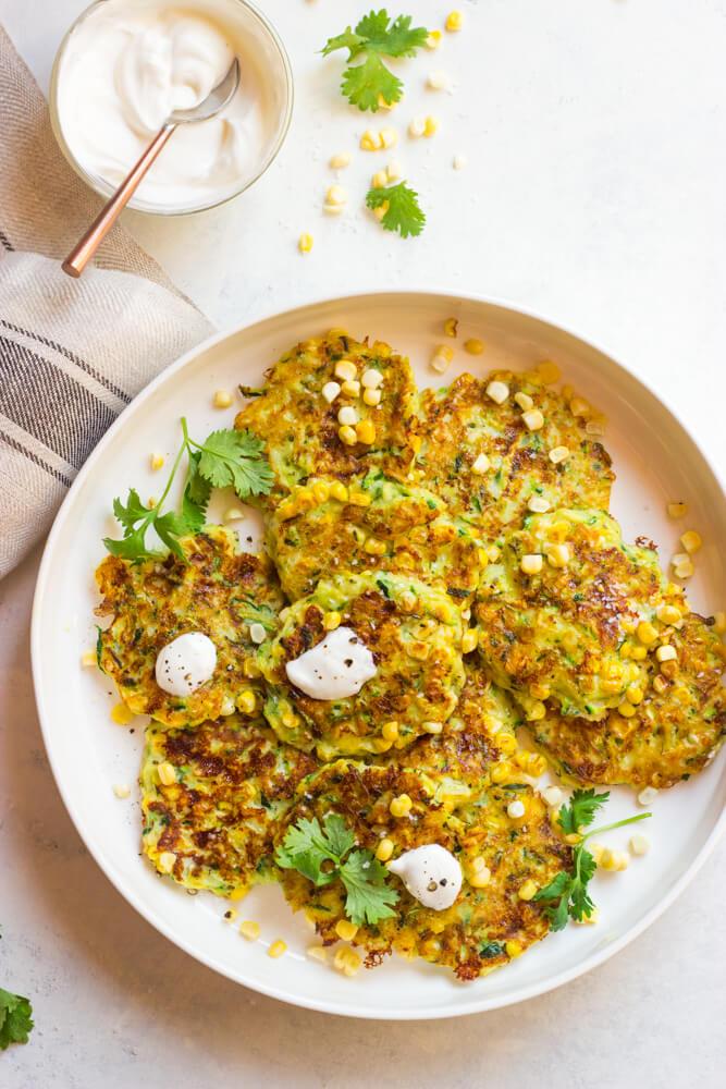 Cheesy Zucchini And Corn Fritters