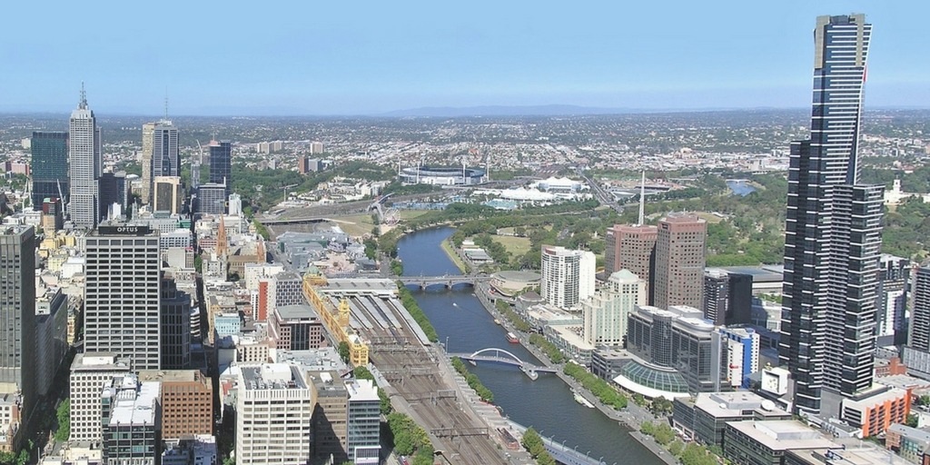 Melbourne aerial view of Yarra river and MCG | Little City Trips guide to the best time to Visit Melbourne with Kids