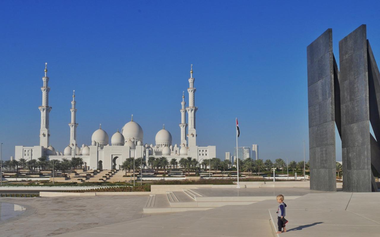 Sheikh Zayed grand mosque in Abu Dhabi, view from Wahat al Karama