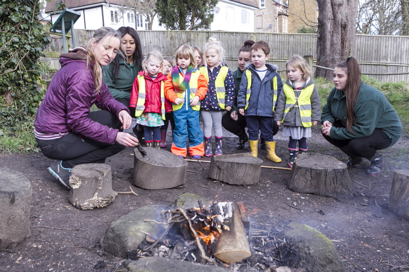 Children at Forest School in Honor Oak and Greenwich