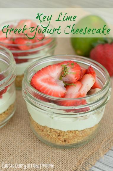 Key Lime Greek Yogurt Cheesecake Cups! Delicious no bake dessert! Little Dairy on the Prairie
