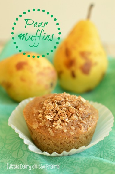 Pear muffins loaded with cinnamon and other fall spices. Sometimes I make it into pear bread instead! Little Dairy on the Prairie