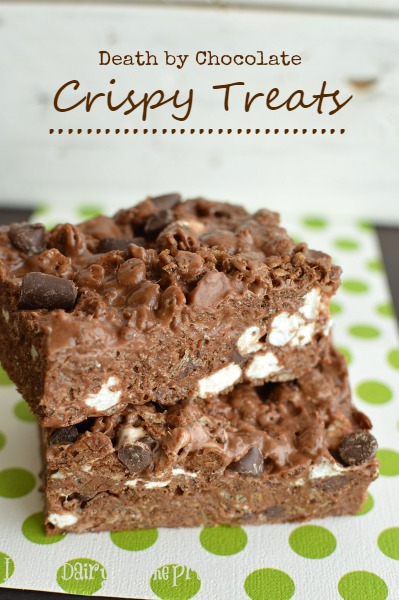 The BEST crispy treats I have ever made or eaten! It's gotta be all that chocolate! Little Dairy on the Prairie #crispy treats #nutella #no bake desserts