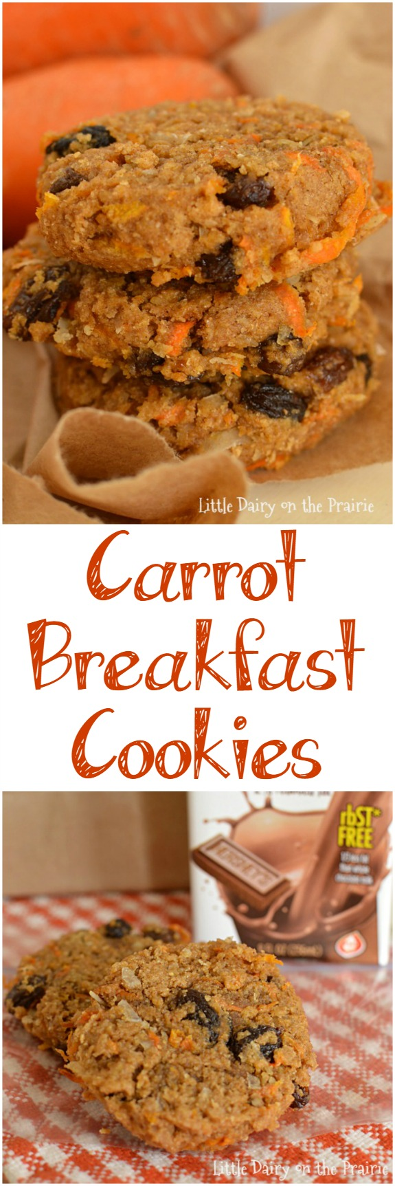 Carrot Breakfast Cookies make a super yummy and healthy, on the go breakfast! They freeze really well too! Little Dairy on the Prairie