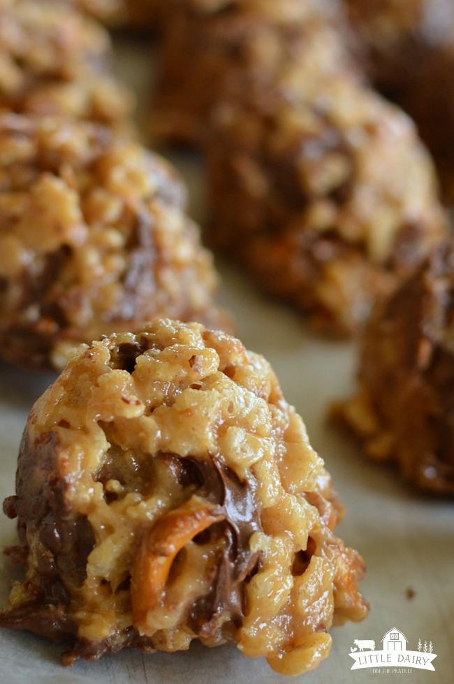 No Bake Peanut Butter Pretzel Cookies on a cookie sheet
