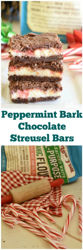 #AD Peppermint Bark Chocolate Streusel Bars have a minty cream cheese middle and chocolate top and bottom! They are perfect for gift giving during the holidays! #Bob's Red Mill